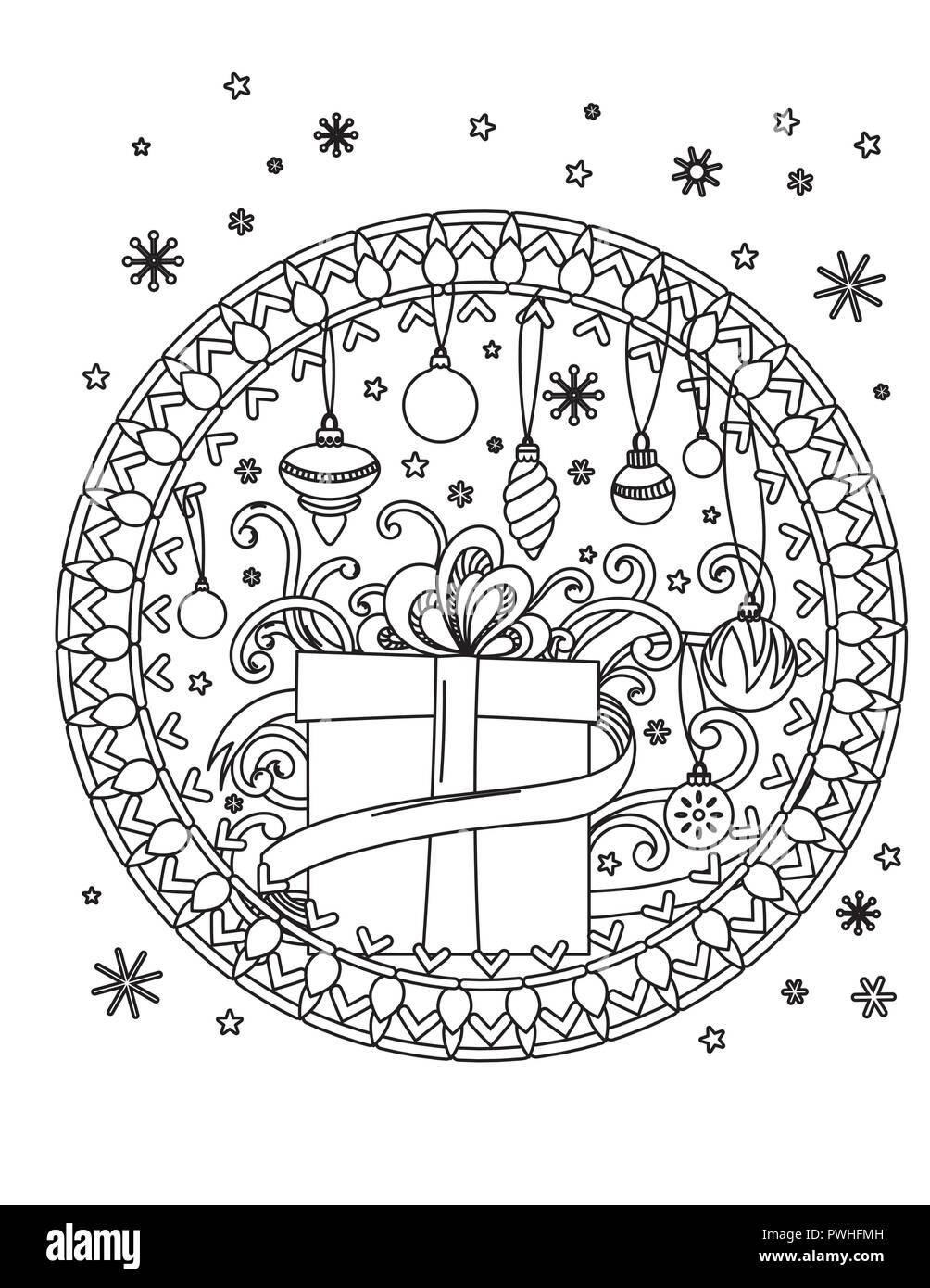 Christmas Mandalas : christmas, mandalas, Christmas, Mandala, Coloring, Page., Adult, Book., Holiday, Decore,, Gifts,, Balls, Ribbond., Drawn, Vector, Illustration, Stock, Image, Alamy