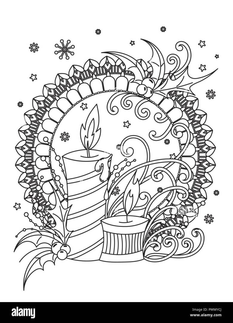 christmas mandala coloring page. adult coloring book. holiday decor
