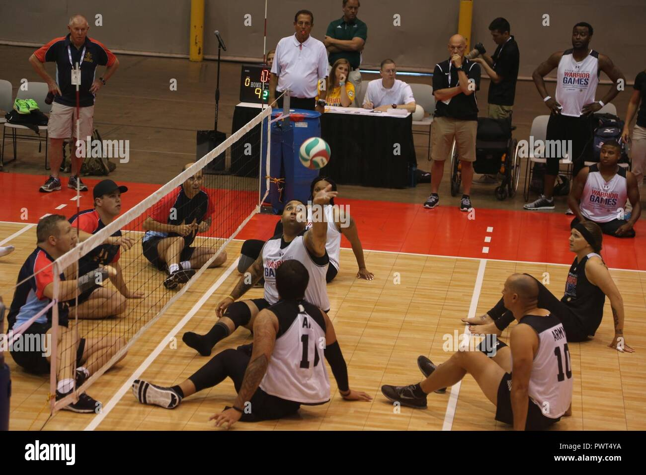 wheelchair volleyball chair height toilet u s army sitting team plays against the austrailian defence force during 2017 department of defense warrior games at