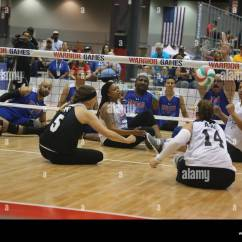 Wheelchair Volleyball Toddler Soft Chairs U S Army Athletes Sitting Team Play Against The Air Force During 2017 Department Of Defense Warrior Games At