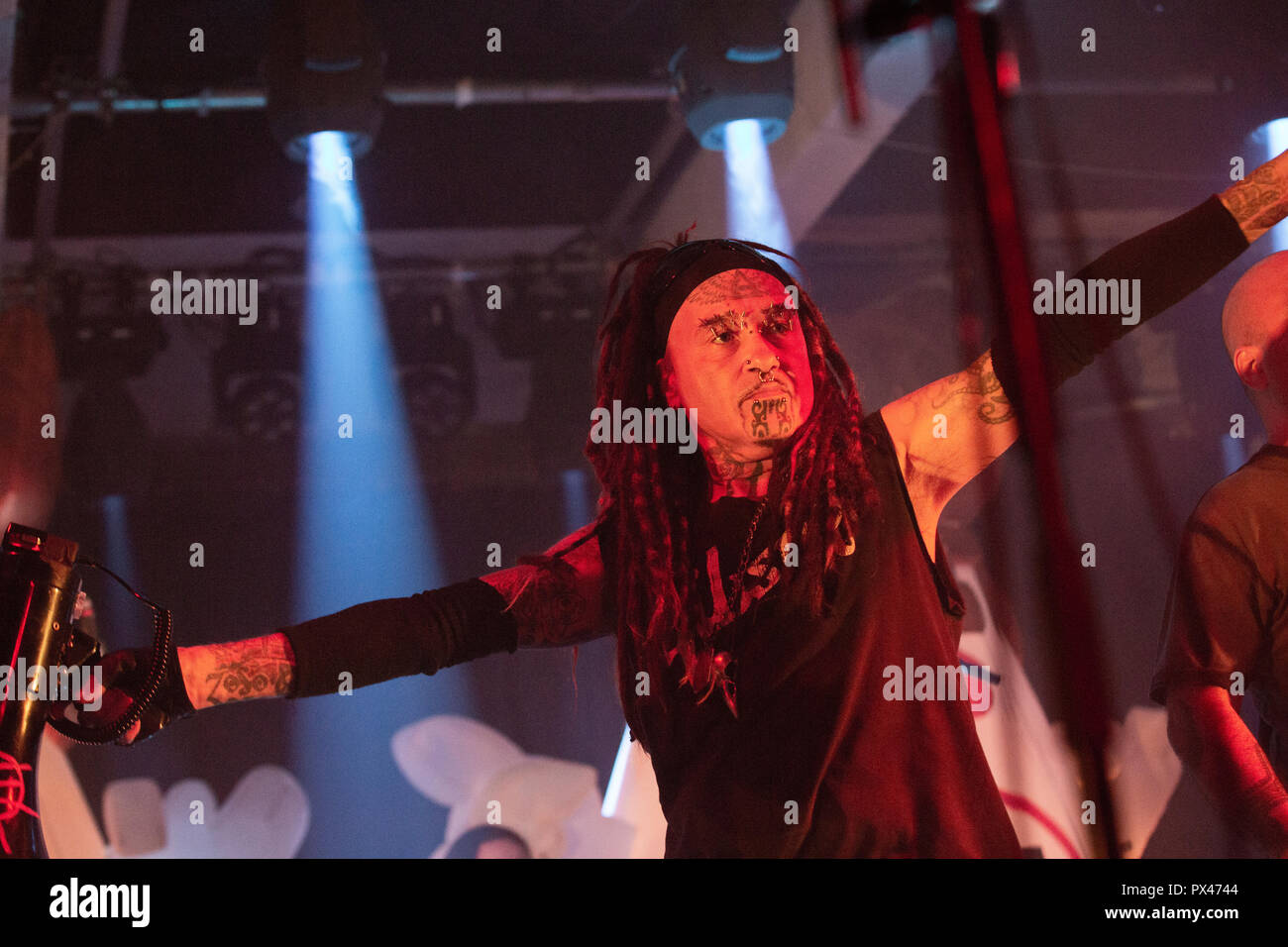 hight resolution of ministry al jourgensen with bullhorn 18th july 2018 glasgow swg3 stock