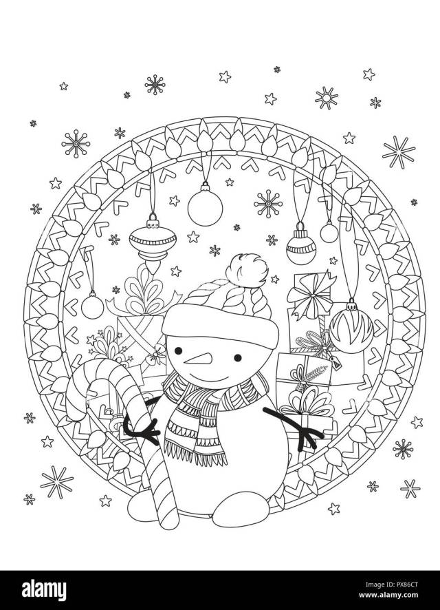 Christmas coloring page. Adult coloring book. Cute snowman with