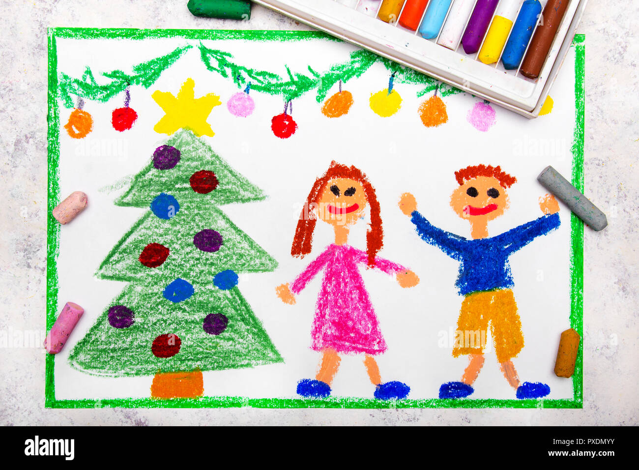 Colorful Drawing A Christmas Time A Smiling Couple And A Beautiful Christmas Tree Stock Photo Alamy