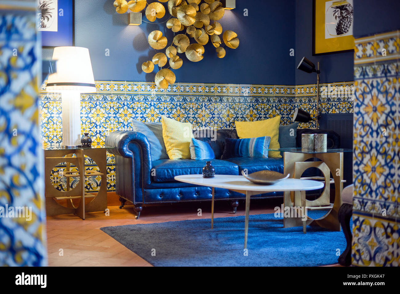 blue modern living room paintings ideas in and gold inspired by vintage portuguese style