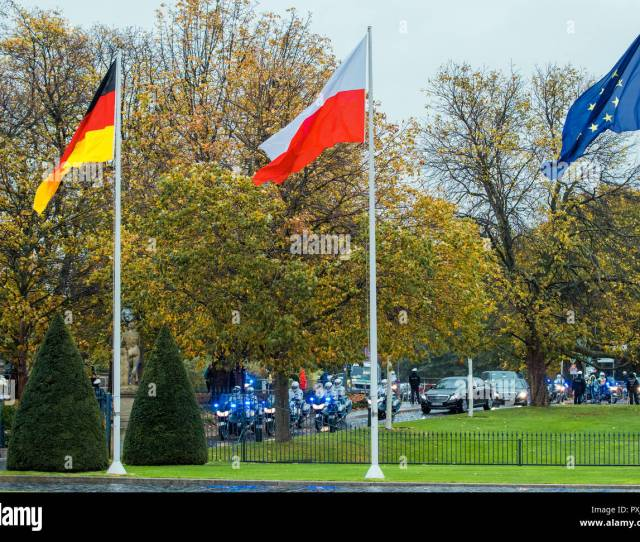 Berlin Germany Rd Oct  A Motorbike Escort Accompanies The Convoy Of Vehicles Of The Polish President On Their Way To Bellevue Castle