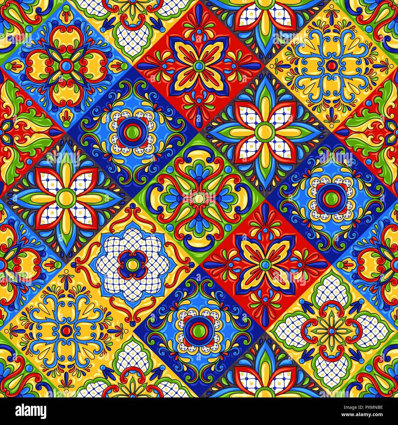 Aztec Print Wallpaper Hd Mexican Talavera Ceramic Tile Seamless Pattern Stock
