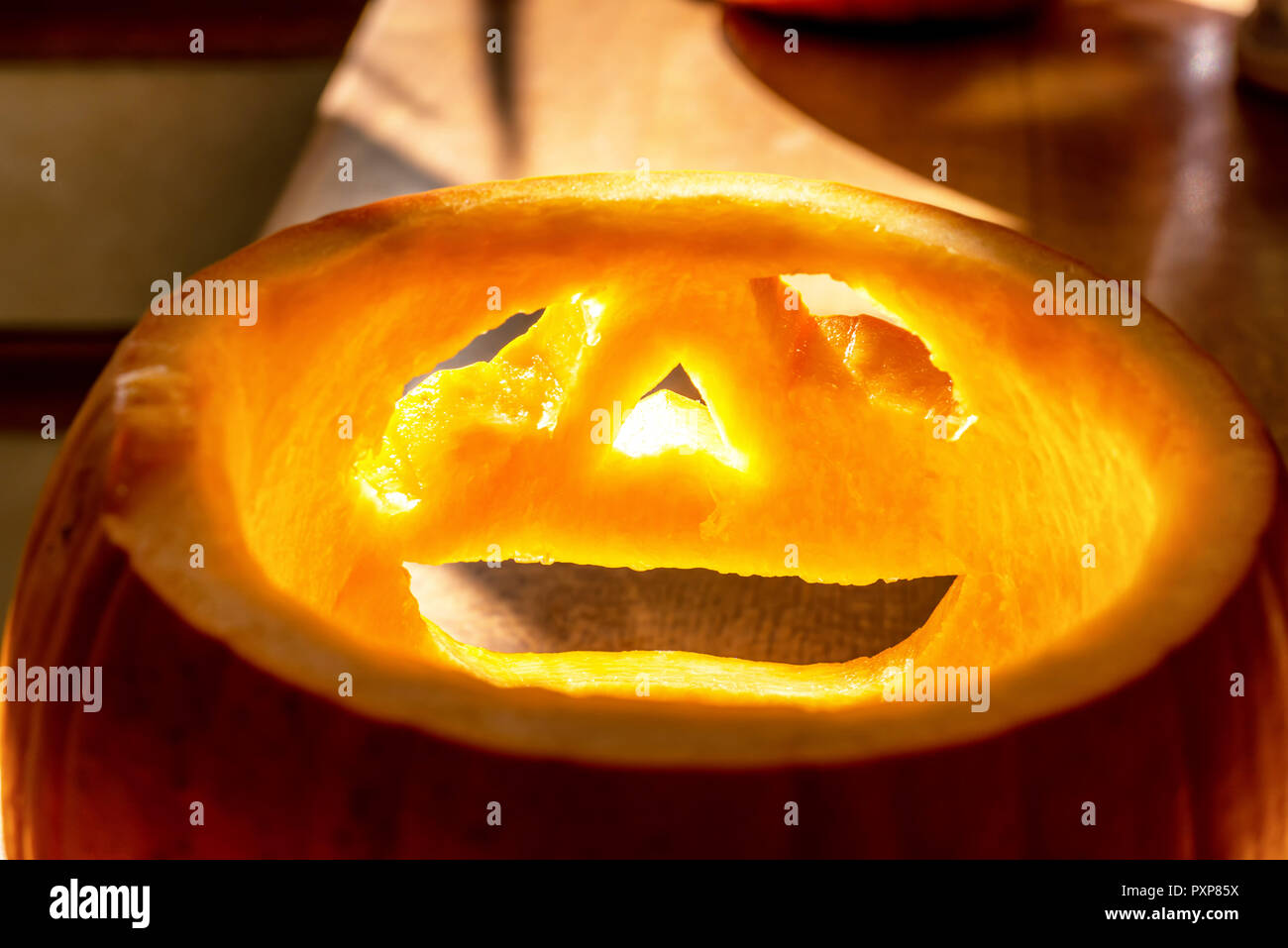 Scary Halloween Pumpkin Background Empty Stock Photos