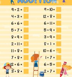 Addition worksheet with children illustration Stock Vector Image \u0026 Art -  Alamy [ 1390 x 1119 Pixel ]