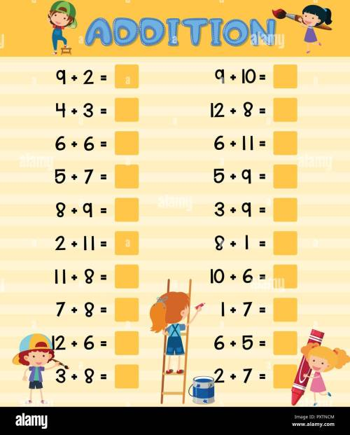 small resolution of Addition worksheet with children illustration Stock Vector Image \u0026 Art -  Alamy