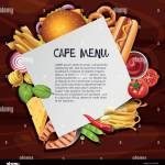 Cafe Menu Background Template With Different Types Of Food Illustration Stock Vector Image Art Alamy
