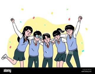 cartoon adolescentes students middle dibujos imagenes escuela vida teenagers secundaria animados estudiantes vector animadas estudiando jugendliche schule alamy ensenanza packs
