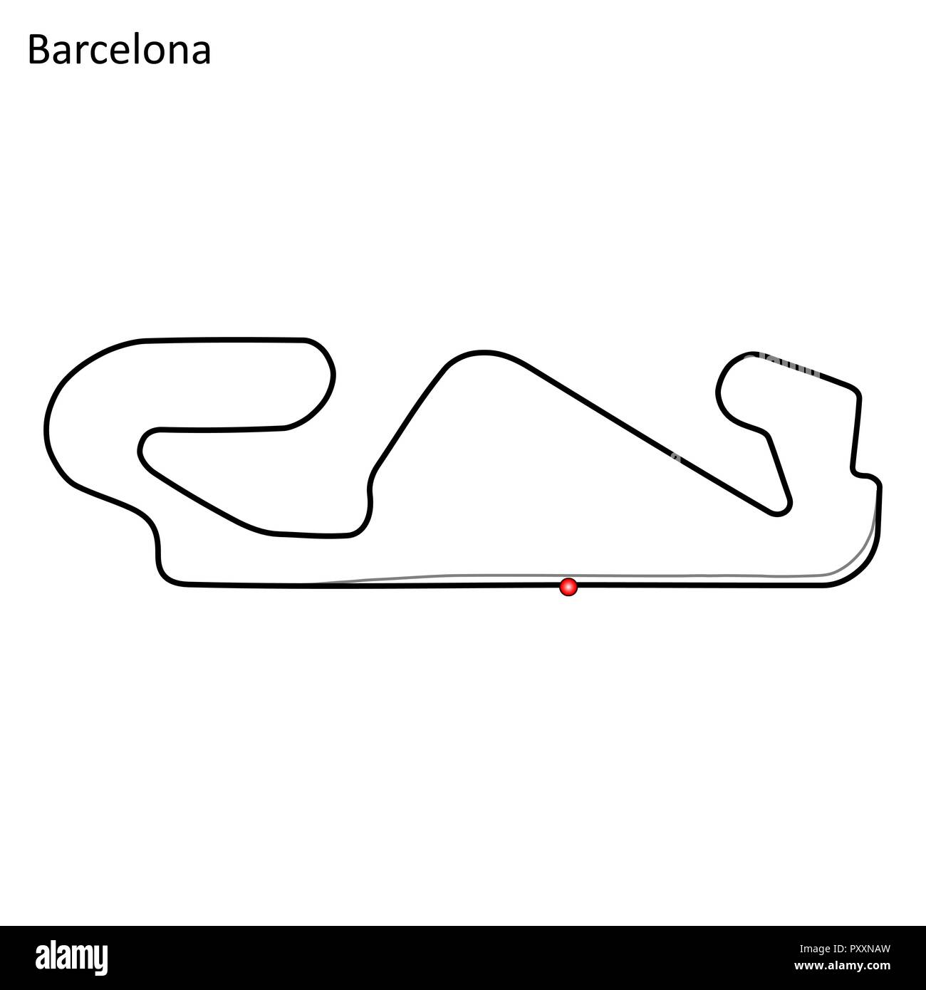 hight resolution of barcelona grand prix race track circuit for motorsport and autosport vector illustration