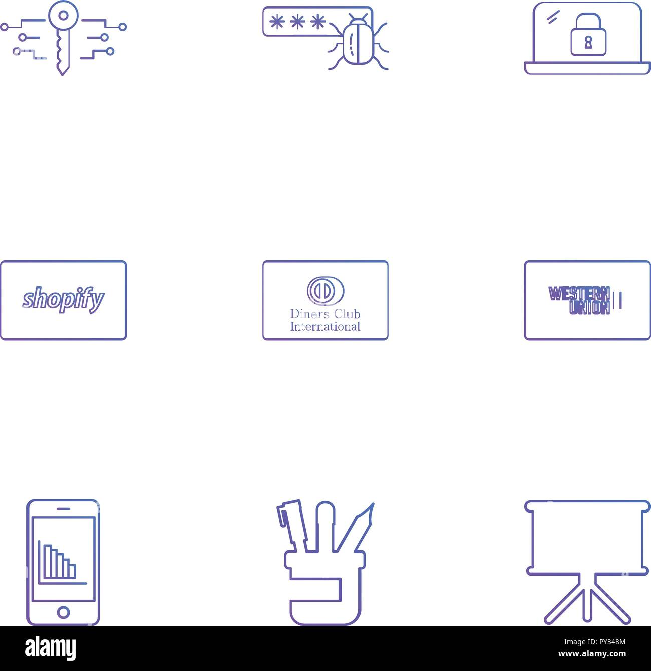 hight resolution of key password bug lock shopify club card western union mobile pen board icon vector design flat collection style creative ic