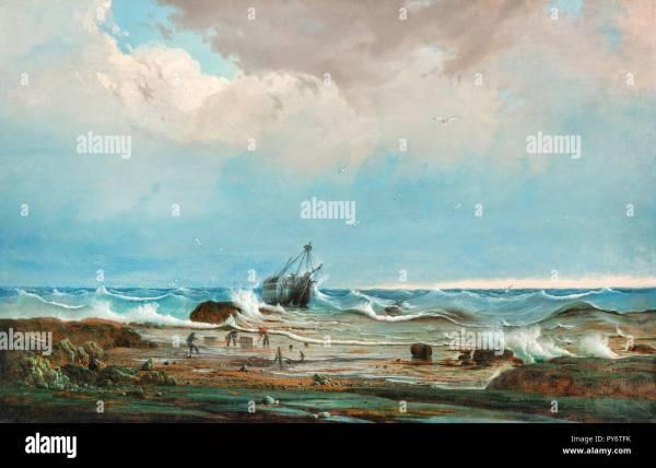 Knud Bull Wreck Of George 1850 Oil