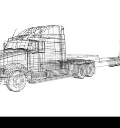 low bed truck trailer wire frame eps10 format vector rendering of 3d [ 1300 x 994 Pixel ]