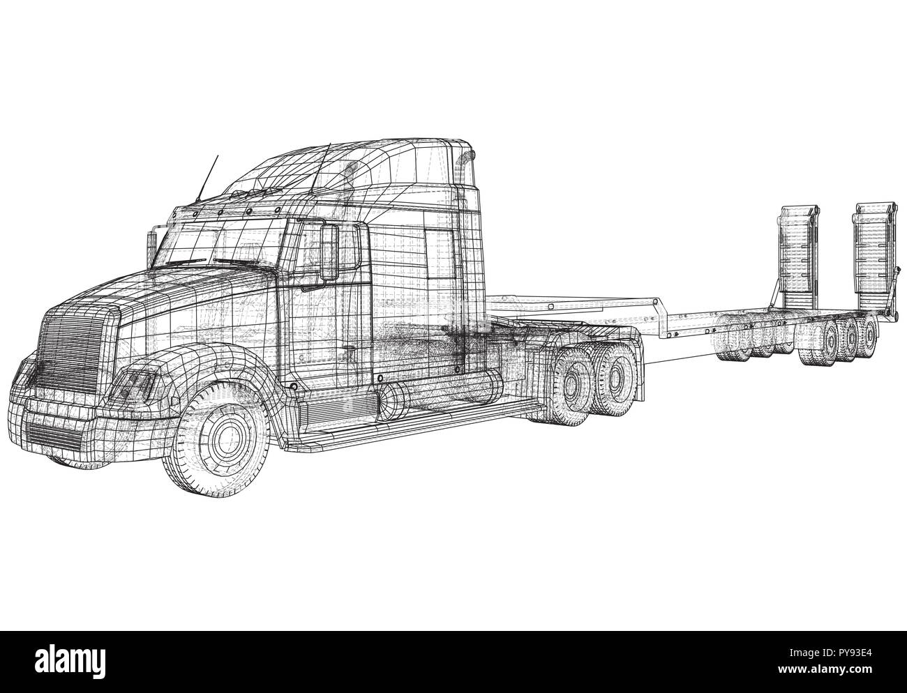hight resolution of low bed truck trailer wire frame eps10 format vector rendering of 3d