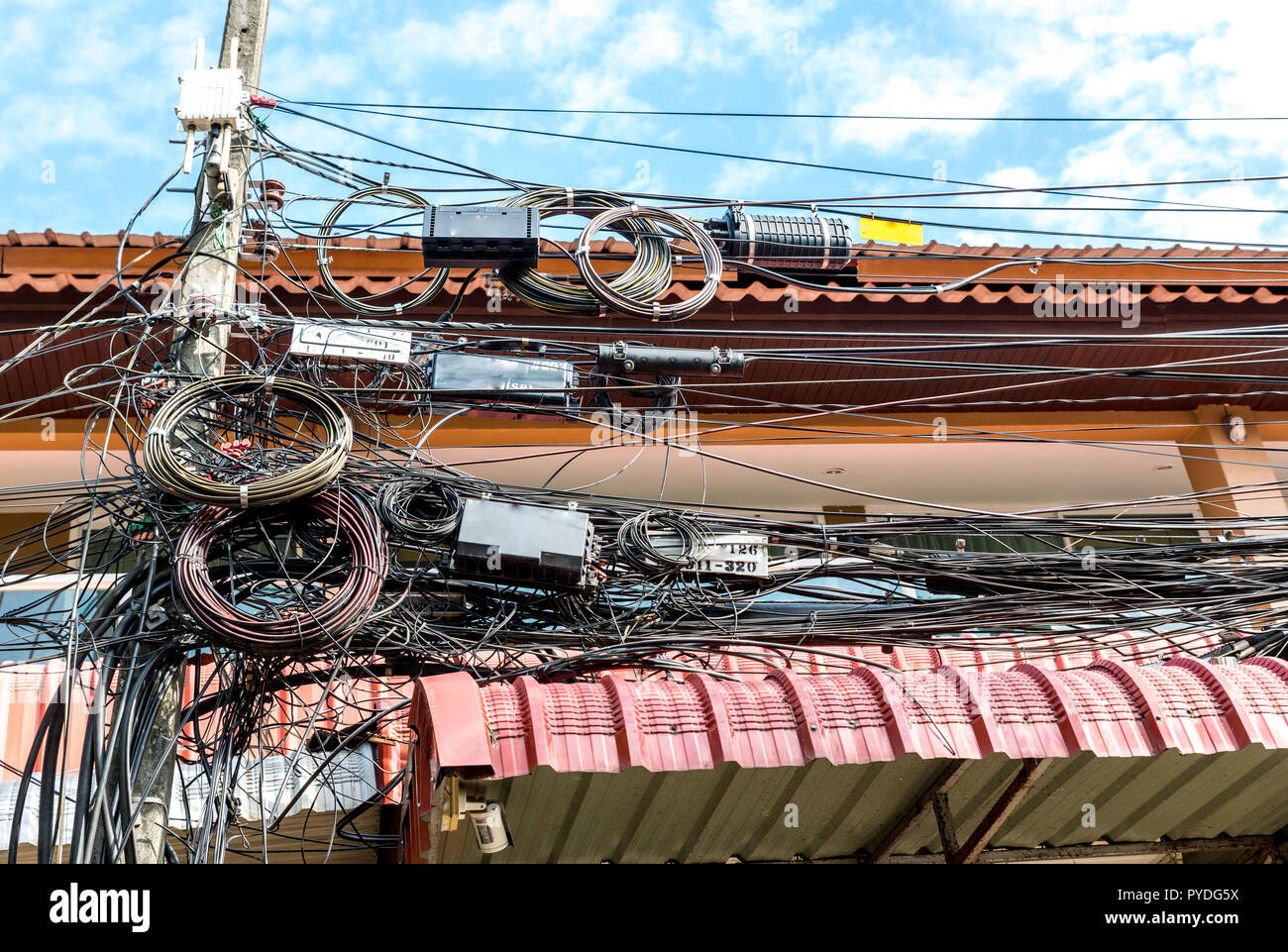 hight resolution of messy telephone and electrical wires in thailand