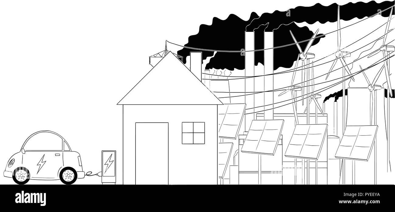 hight resolution of cartoon of electric car recharged by family house with electrical grid infrastructure on background