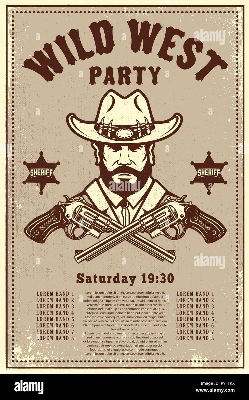 wild west party poster