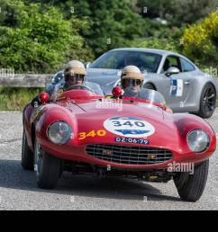 pesaro colle san bartolo italy may 17 2018 ferrari 750 monza spider scaglietti 1954 old racing car in mille miglia rally 2018 the famous italian [ 1300 x 956 Pixel ]