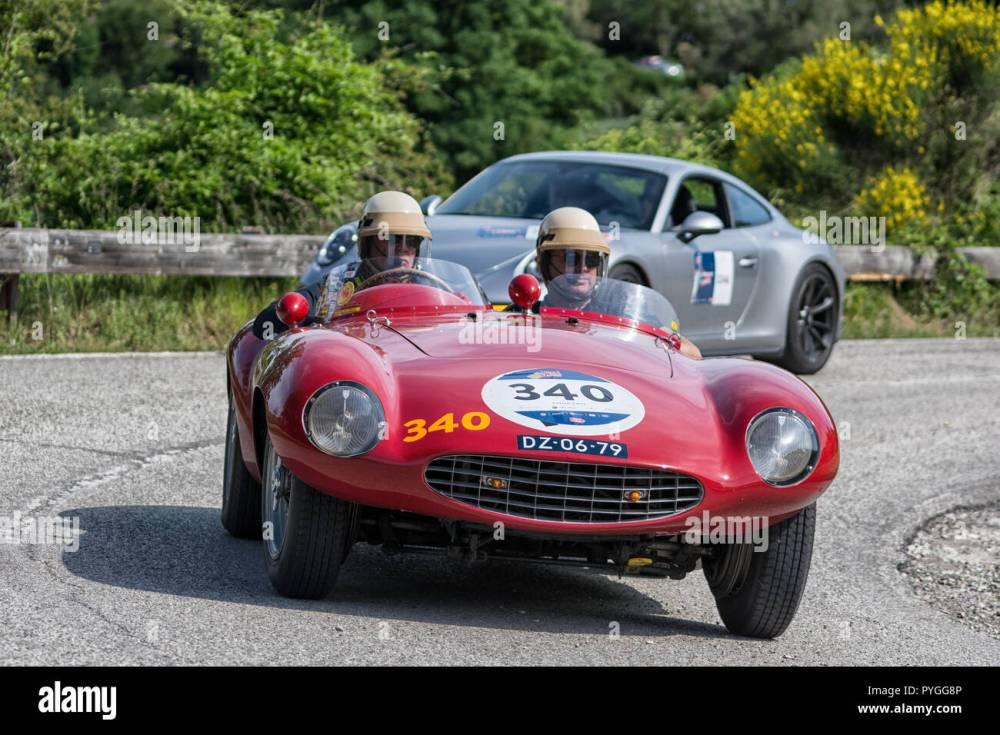 medium resolution of pesaro colle san bartolo italy may 17 2018 ferrari 750 monza spider scaglietti 1954 old racing car in mille miglia rally 2018 the famous italian