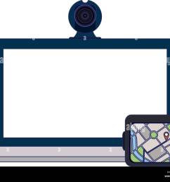 laptop with webcam and gps vector illustration graphic design [ 1300 x 1059 Pixel ]
