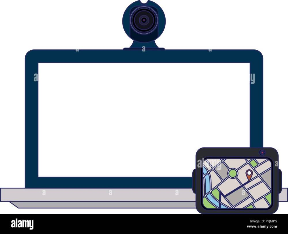 medium resolution of laptop with webcam and gps vector illustration graphic design