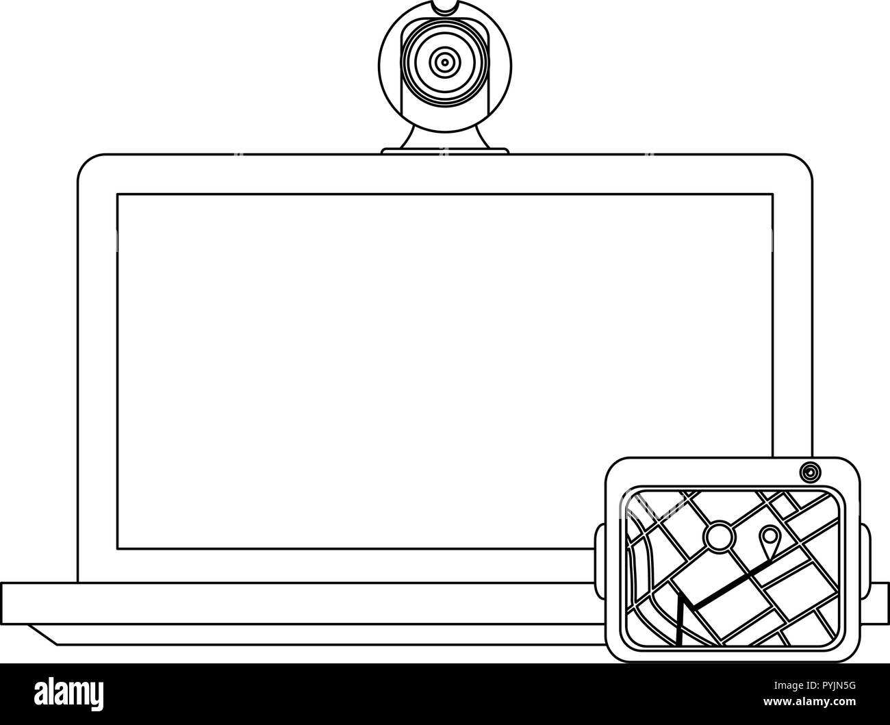 hight resolution of laptop with webcam and gps vector illustration graphic design