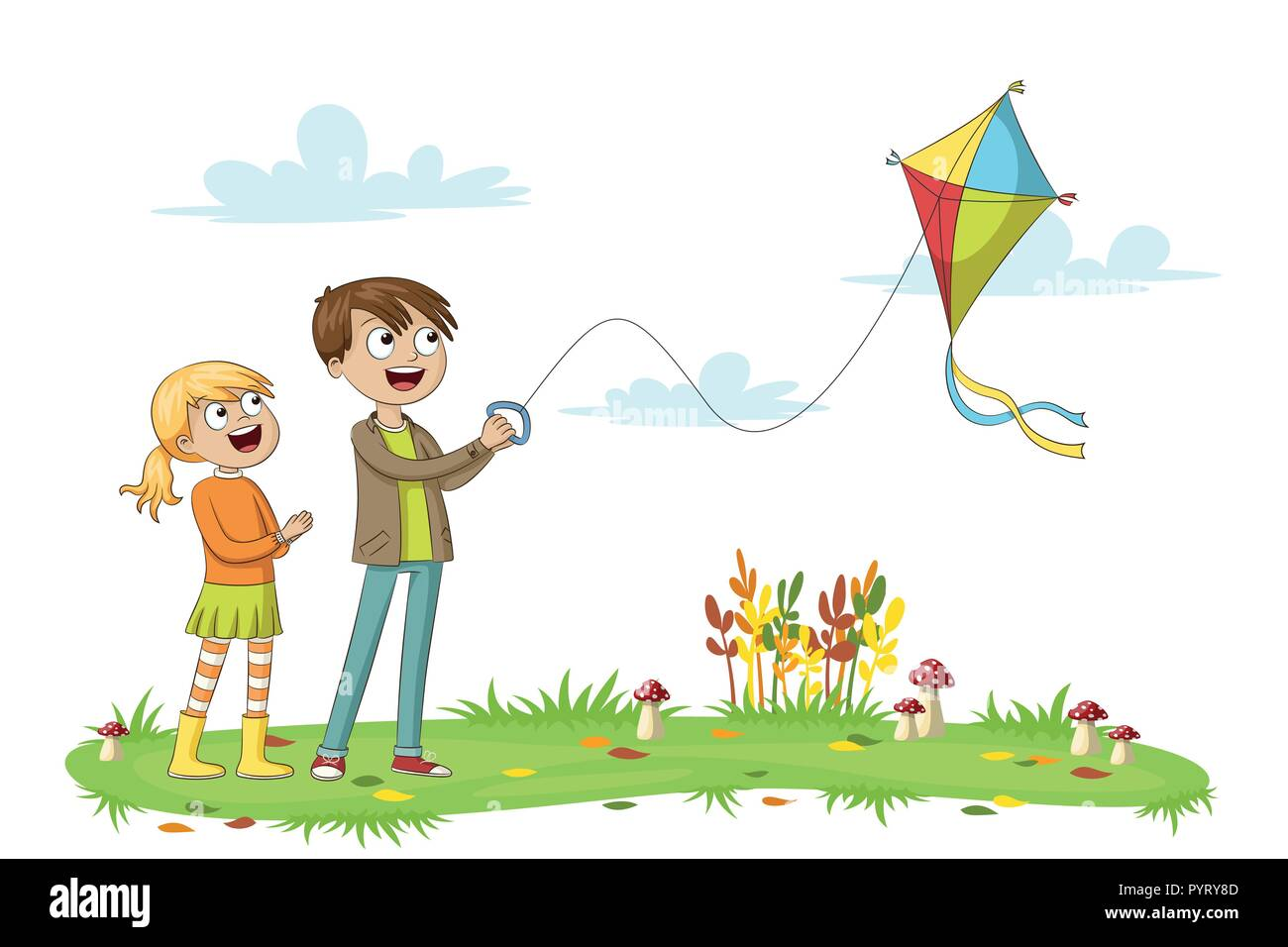 Two Kids Fly A Kite Isolated On White Background Stock