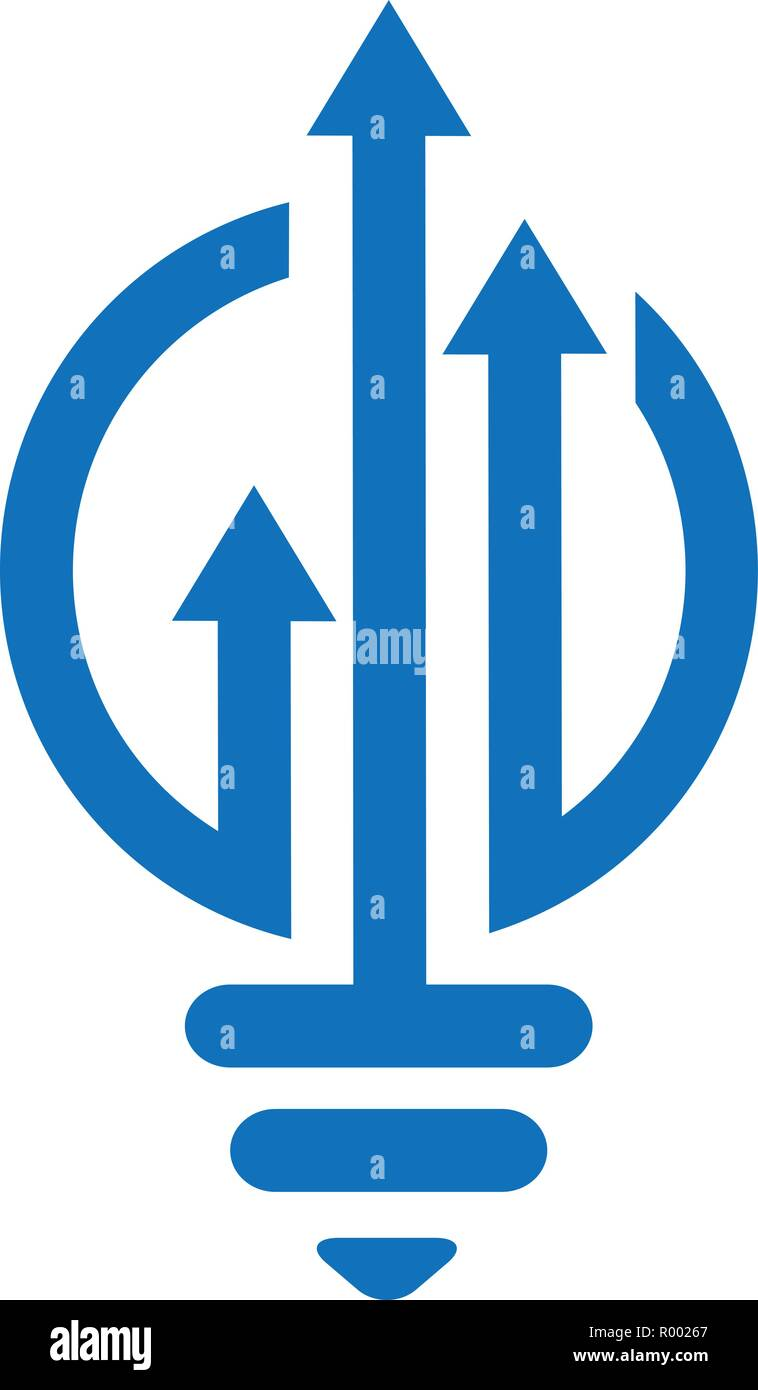 medium resolution of bulb lamp financial logo bar chart and arrow marketing symbol innovation idea logo template ready for use