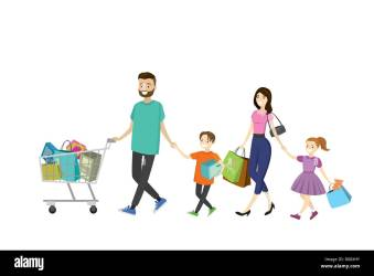 Happy family with shopping bags Big discount in store Flat design cartoon vector illustration Stock Vector Image & Art Alamy