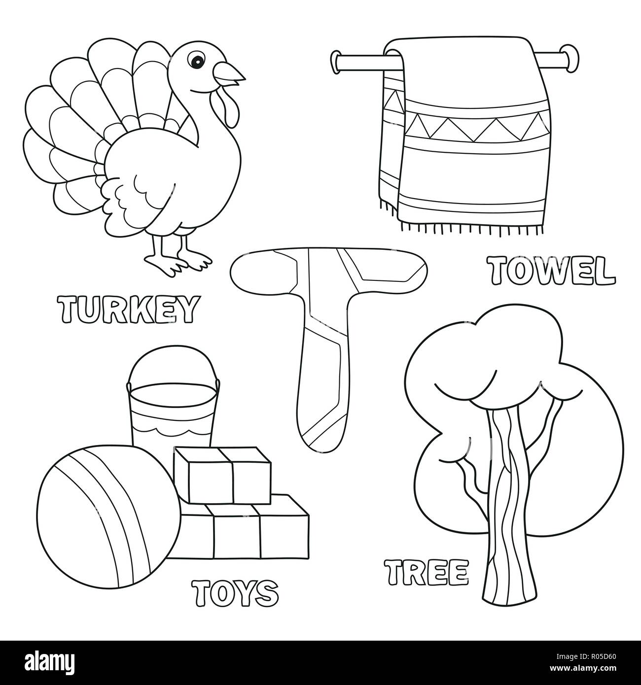Kids Alphabet Coloring Book Page With Outlined Clip Arts Letter T Stock Vector Image Art Alamy