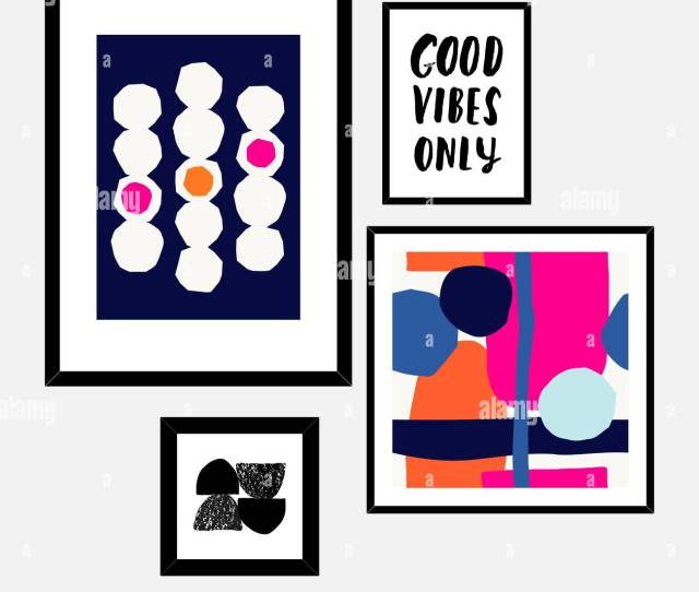 A Set Of Four Framed Art Prints In Black Pink Blue Orange And White Arranged In A Beautiful And Stylish Composition Abstract Art Posters Printabl