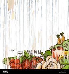 menu background food vector illustration vegetables wood alamy