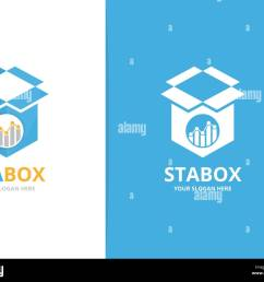 vector graph and box logo combination diagram and package symbol or icon unique chart and delivery logotype design template  [ 1300 x 1092 Pixel ]
