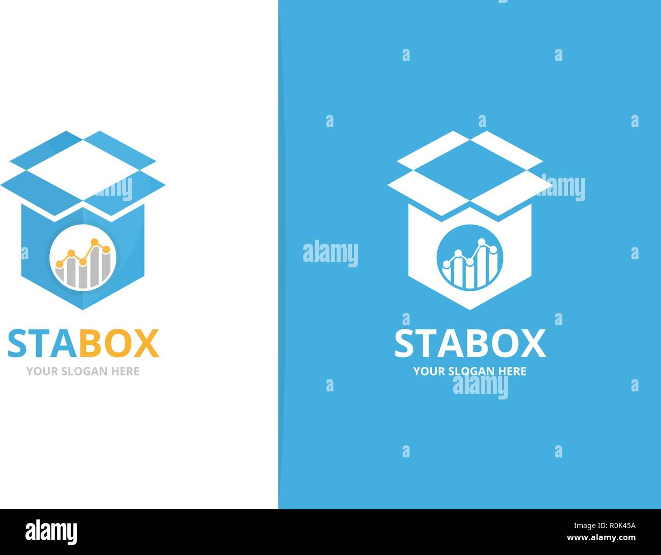 hight resolution of vector graph and box logo combination diagram and package symbol or icon unique chart and delivery logotype design template
