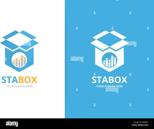 small resolution of vector graph and box logo combination diagram and package symbol or icon unique chart and delivery logotype design template