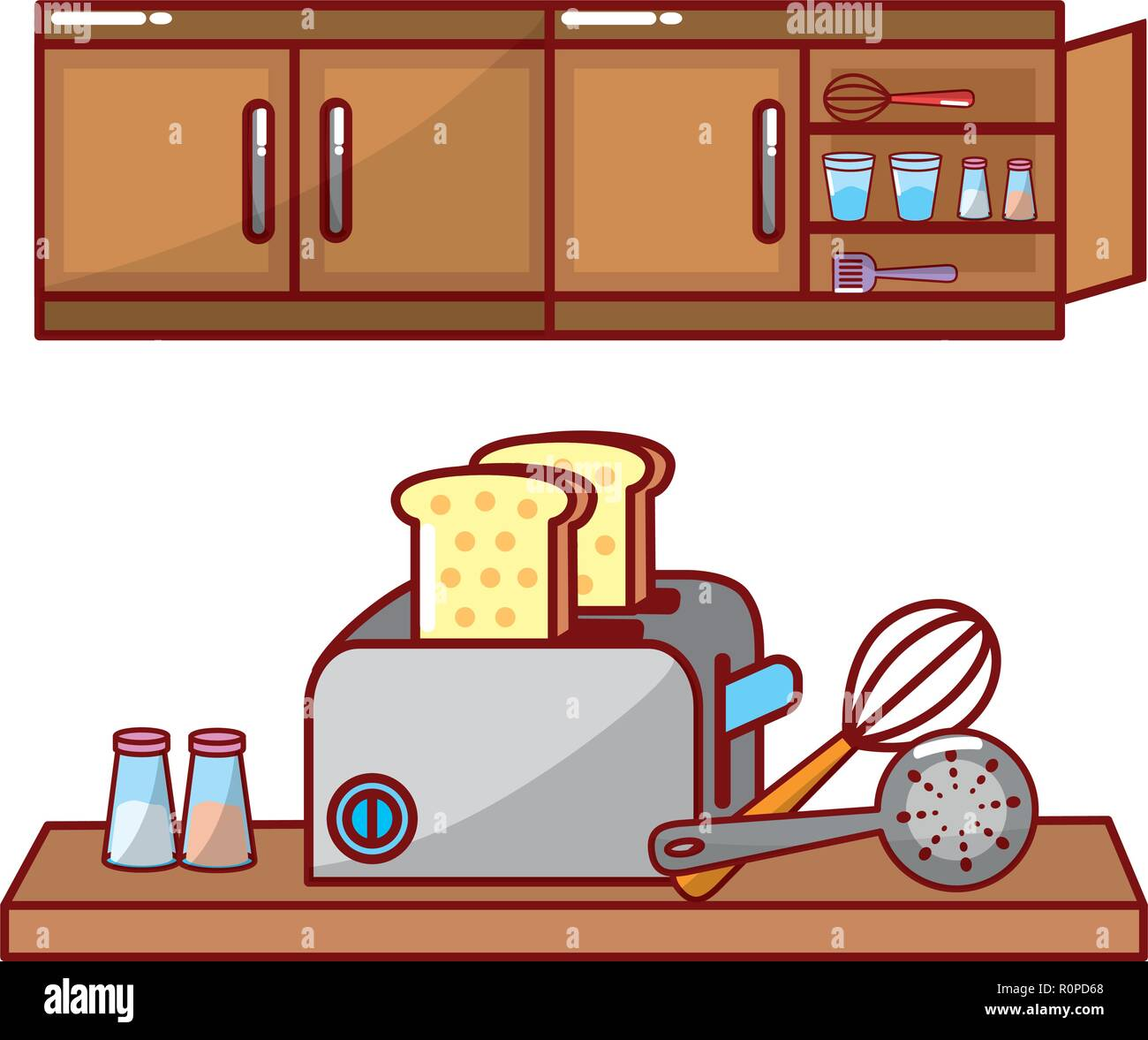 cute kitchen gadgets decorating cabinets utensils illustration stock vector images alamy