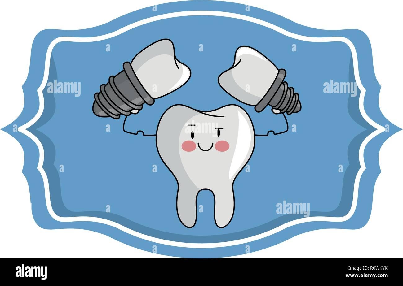 hight resolution of dental care cartoon over label frame