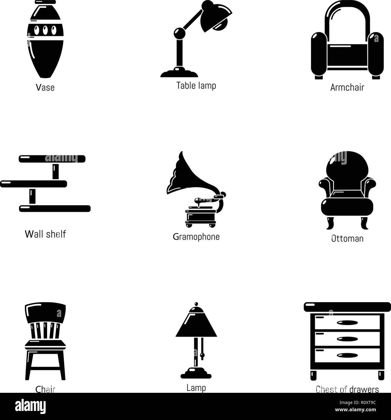 antique room icons set