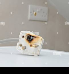 burned 250v uk style socket and converter improper use of ac power plugs and sockets [ 1300 x 956 Pixel ]