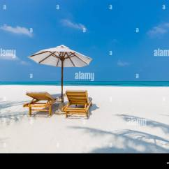 Perfect Beach Chairs Small Space Kitchen Table And Two Umbrella Ocean Stock Photos