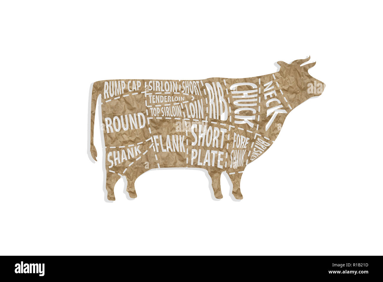 hight resolution of cut of beef for butcher shop stock image