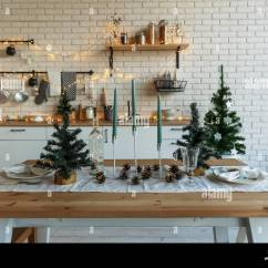 Kitchen Candles Small Corner Hutch New Year And Christmas 2018 Festive In Decorations Spruce Branches Wooden Stands Table Laying
