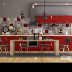 Retro Red Kitchen Table And Chairs Rolling Dining With Wooden 3d Rendering