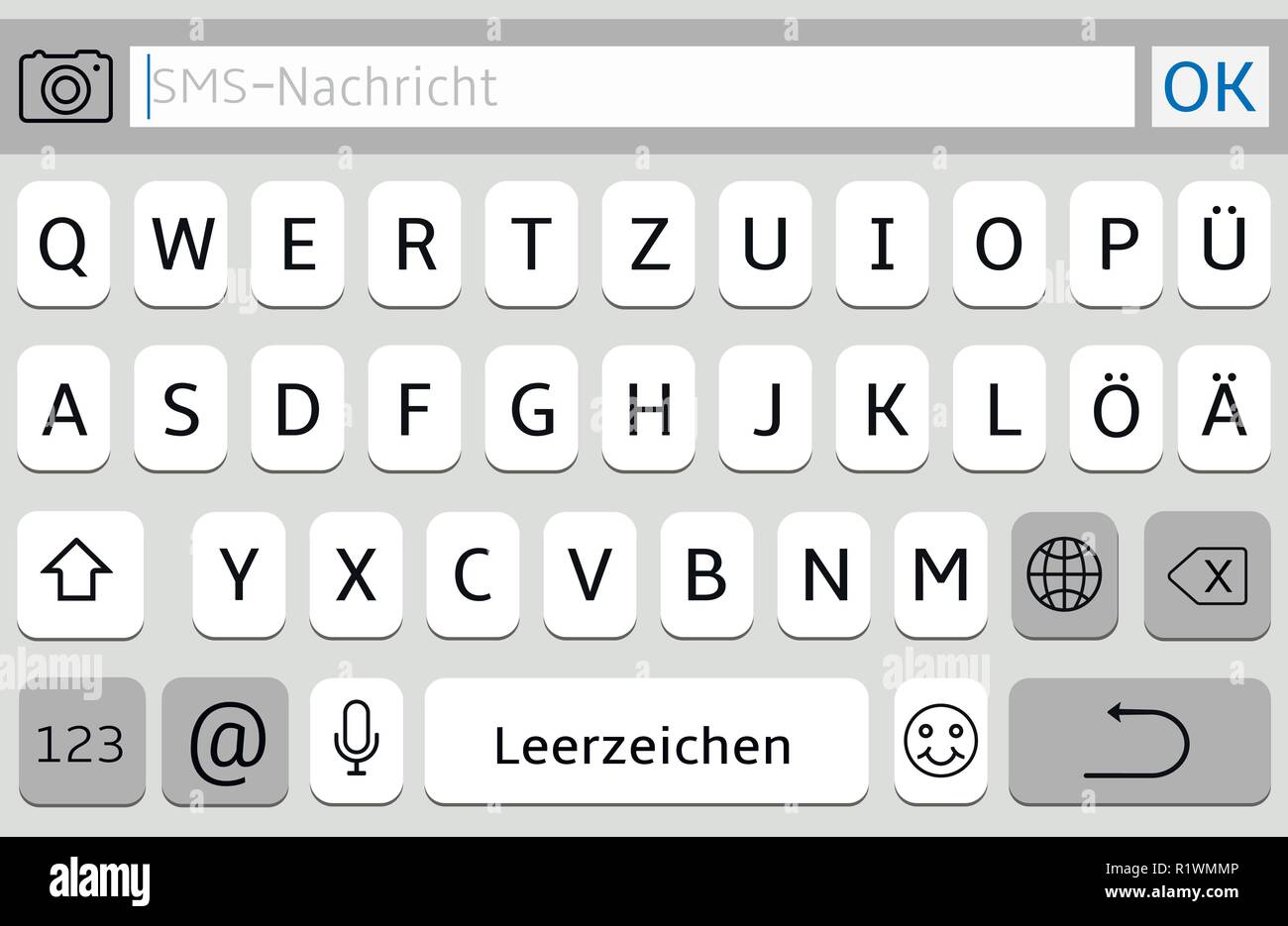 Germany Alphabet Virtual Keyboard For Mobile Phone Stock