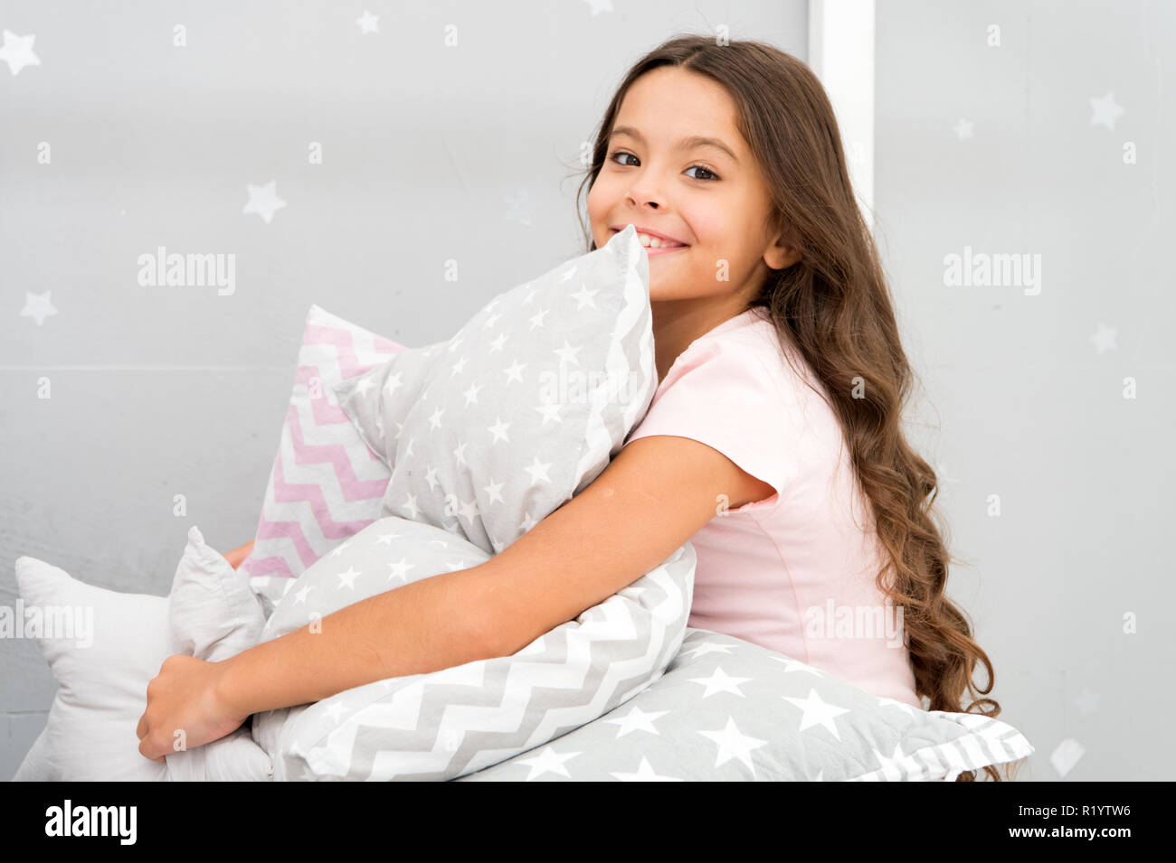 https www alamy com girl kid hug cute pillow cute kids pillows they will love to cuddle find decorative pillows and add fun to room happy childhood cozy home adorable cushions for your child room image224961666 html
