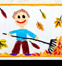 colorful drawing a smiling boy is raking leaves [ 1300 x 956 Pixel ]