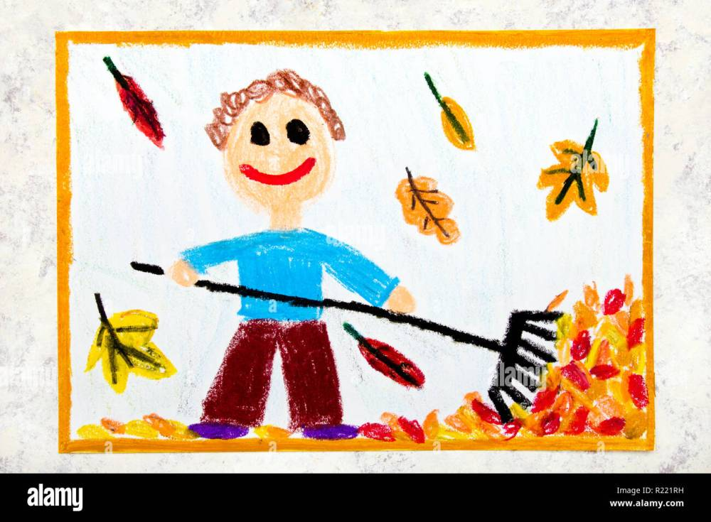 medium resolution of colorful drawing a smiling boy is raking leaves