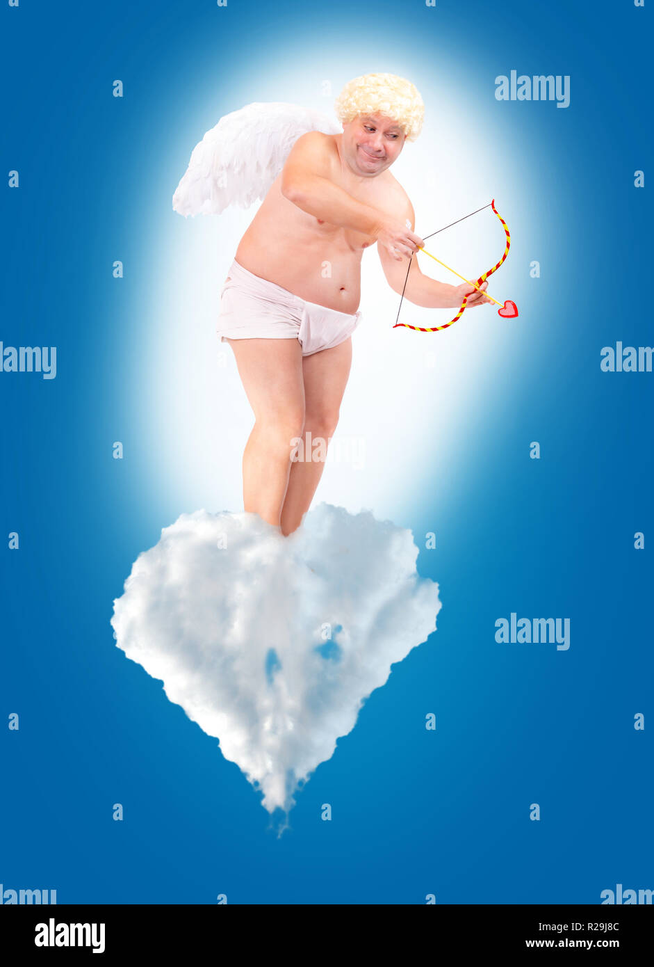 Funny Angel : funny, angel, Funny, Angel, Shoot, Arrow, Love,, Standing, Clouds, Adult, Aiming, Float, White, Cloud, Heaven, Stock, Photo, Alamy
